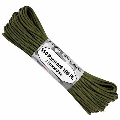 Genuine Atwood 550 Paracord 7-Strand Core - Military Green - Made in USA