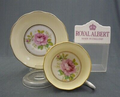 c1930's Royal Albert Crown China Yellow AMERICAN BEAUTY Tea Cup & Saucer Duo