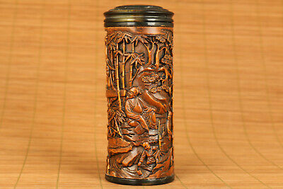 old antique boxwood Hand carving bamboo play piano statue netsuke tea caddy Box