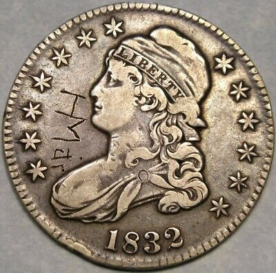 1832 Capped Bust Lettered Edge Silver Half Dollar Scarce Small Letters Engraved