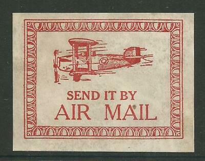 "early biplane ""Air Mail"" Poster Label"