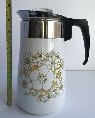 Corning Ware Vintage Yellow Floral Bouquet 9 Cup Stove Top Percolator Coffee Pot
