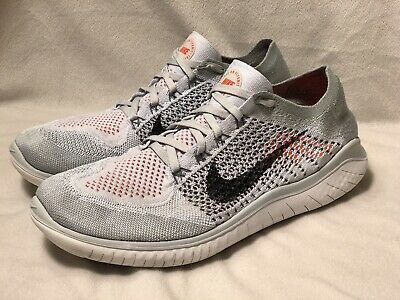 1d1259c95be7 Nike Free Rn Flyknit 2018 Pure Platinum Black White Running Size 11 (942838