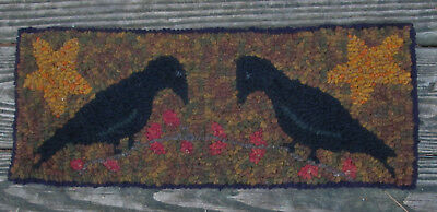 Crows at Harvest Primitive Rug Hooking KIT with Cut Wool Strips on Monks Cloth