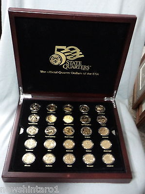 #Xx.   Boxed  Set(50) Of Gold Plated Usa State  Quarter  Dollar  Coins