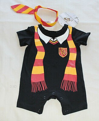 Harry Potter Boys Black Gryffindor Printed One Piece Romper + Tie Size 0 New