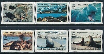 1991 South Georgia Elephant Seals Set Of 6 Fine Mint Mnh