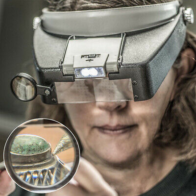 Magnifying Glass Headset LED Light Head Headband 8.3X Magnifier Loupe With Box