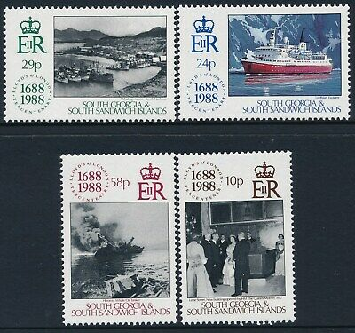 1988 SOUTH GEORGIA 300th ANNIVERSARY LLOYDS OF LONDON SET OF 4 FINE MINT MNH