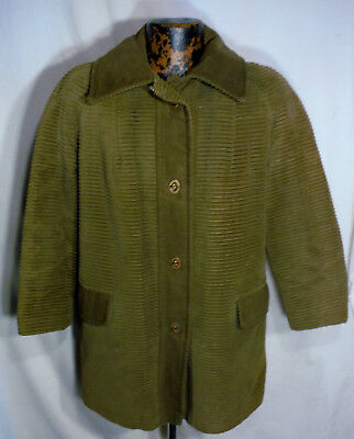 SEARS 1970s Vintage Corduroy Retro Coat Jacket Mens 40 Toggle Brass buttons
