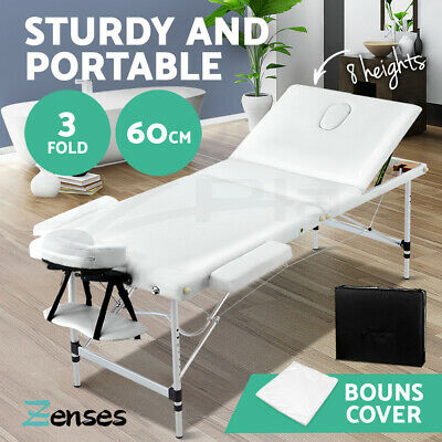Zenses 75CM Portable Aluminium Massage Table 3 Fold Massage Beds Beauty Waxing