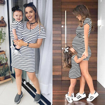 Uk Family Matching Outfits Mother&Daughter Clothes Dress Baby Girl Striped Skirt