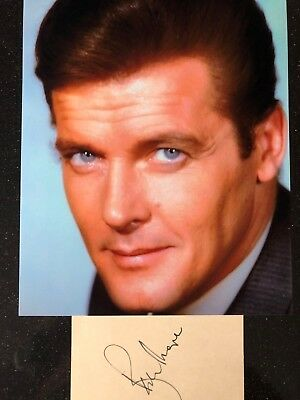 Genuine Hand Signed Roger Moore Autograph With Portrait Photo