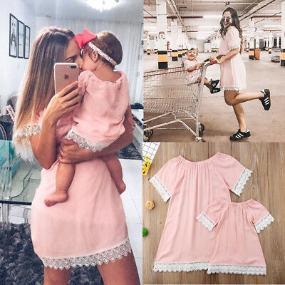 UK Summer Family Clothes Mother Daughter Womens Girls Short Sleeve Lace Dress