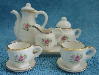 10 piece miniature porcelain TEA SET on TRAY white with rose & gold decoration