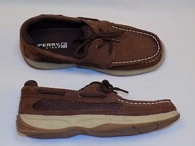 Boys Size 4.5,5.5,6 SPERRY TOP SIDERS BROWN Loafer SC CRUISE Boat Deck Shoes