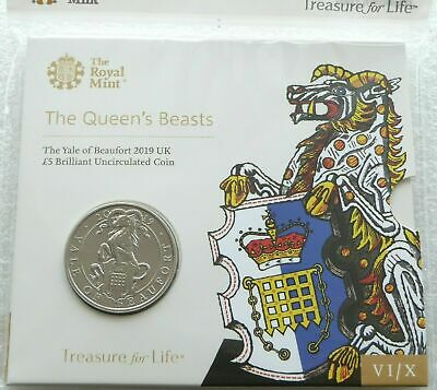 2019 Royal Mint Queens Beasts Yale of Beaufort BU £5 Five Pound Coin Pack