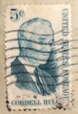 1914 Cordell Hull 5 Cent, Black Cancellation Stamp,Cinderella REPLICA Stamp