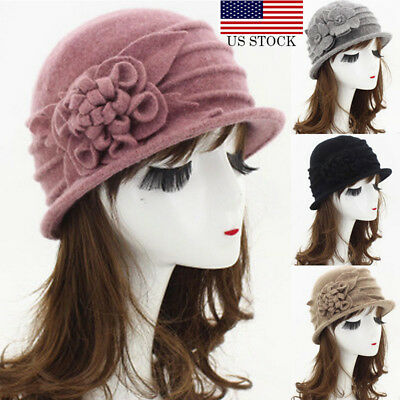 07eb0ad9ab95c Womens Floral 1920s Vintage 100% Wool Beret Beanie Cloche Bucket Winter Hat  USA