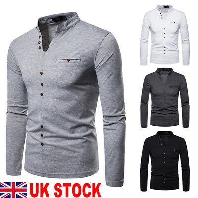 UK Fashion Men Slim V Neck Long Sleeve Muscle Tee T-shirt Casual Fit Tops Blouse