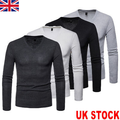 UK Men's Slim Fit V Neck T-shirt Muscle Tee Casual Tops Long Sleeve Warm Blouse