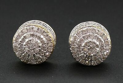 2.00 Ct Diamond Stud Earrings 10K Yellow Gold Over Mens Ladies Round Cube Circle