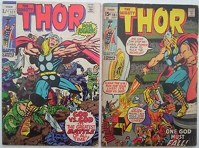 """1970. Two x """"Mighty THOR"""" comics Vol.1 #'s 177 and 181. VG."""