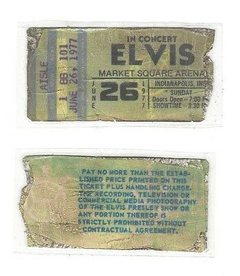 ELVIS PRESLEY live concert REPLICA ticket stub June 26, 1977 Indianapolis IN