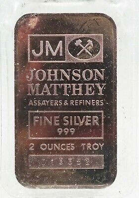 Johnson Matthey JM 2 oz .999 Fine Silver Bar Sealed C616