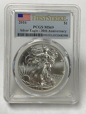 2016 First Strike Silver American Eagle 30th Anniversary PCGS MS69