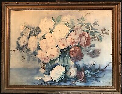 MARIE CHAUTARD-CARREAU - LARGE EARLY 20thC FRENCH IMPRESSIONIST - ROSES IN BOWL