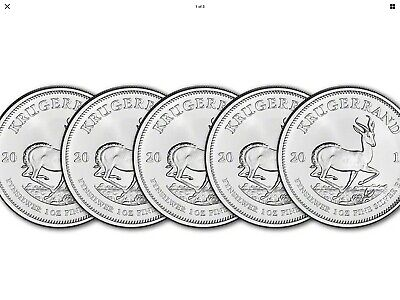 5 X 2019 South Africa Silver Krugerrand 1 oz 1 Rand - BU Five - 5 Coins