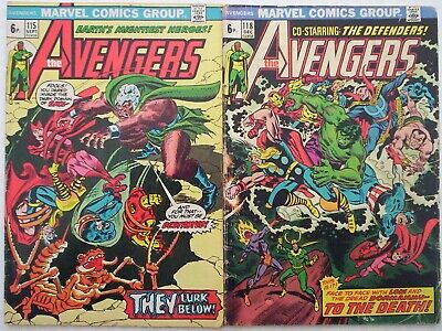 """1973. Two x """"AVENGERS"""" Marvel comics Vol.1 #'s 115 and 118. VG."""