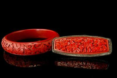 2 Old Chinese Carved Cinnabar Bangle Bracelet Pin  Brooch D103-08