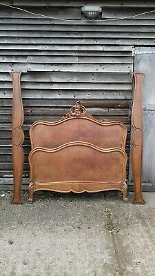 Antique French Walnut Louis XV Style Rococco Double Bed Frame (H341)