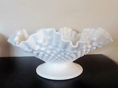 Fenton Hobnail Milk Glass Footed Double Crimped Bowl