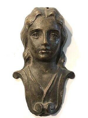 Antique Bronze / Brass Lady Architectural Figure Weighs 3.3 Pounds NICE