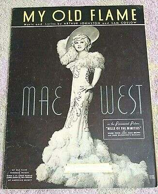 """MAE WEST """"My Old Flame"""" 1934 Sheet Music from """"BELLE OF THE NINETIES"""""""