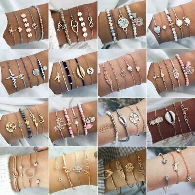 Charm Women Boho Lots Style Cuff Open Crystal Bracelet Bangle Chain Jewelry Hot