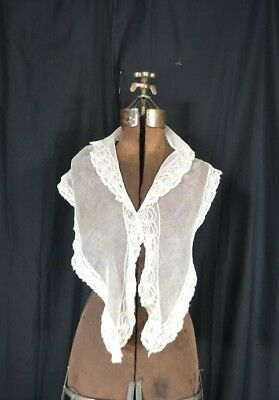 antique fichu collar net lace early hand made  white 19th c original vg