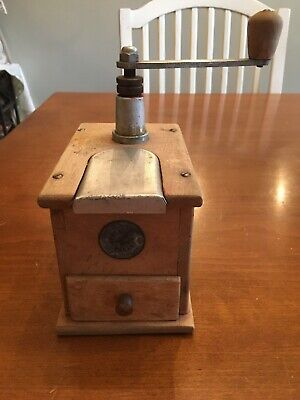 Vintage German GESTO Kugellager Mocka  D.R.P Metal Wood Coffee Grinder