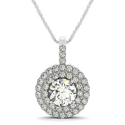 925 Sterling Silver 14K White Gold Over Diamonds Round Necklace Pendant Women's