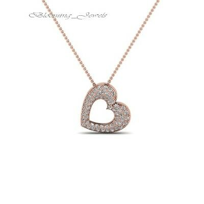 14k Rose Gold Over 1.00 CT Round-Cut Diamond Heart Shape Pendant Sterling Silver