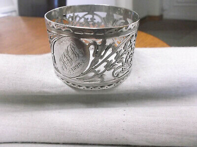 """A  Victorian    Pierced Sterling Silver    Napkin Ring  """" H M R """"  London 1896"""