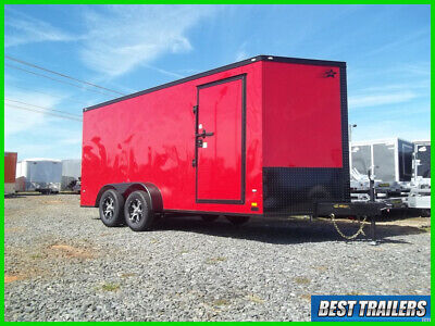special 7 x 16 blackout red LED light enclosed cargo motorcycle hauler trailer