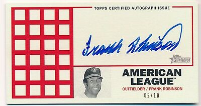 FRANK ROBINSON 2016 Topps Heritage 1967 Punch-Out BOXLOADER AUTO /10 RARE HOF