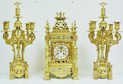 Amazing Antique French 8 Day Pierced Bronze Cube Mantle Clock Candelabra Set