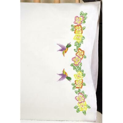 Tobin 489648 Stamped Pillowcase Pair 20 in. x 30 in. For Embroidery-Hummingbird