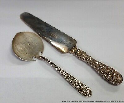 Sterling Silver Stieff Repousse Serving Knife Jacobi Jenkins Waffle Server