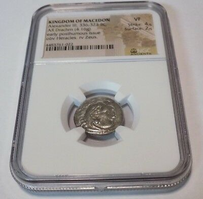 KINGDOM OF MACEDON Alexander III AR DRACHM NGC VF 336-323 BC Ancient World Coin